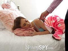 Young daddy is fucking pretty nanny Anya Olsen after pussy skunk