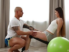 Handsome lady's man around a large dick fucks atrophied girl Lina Lux