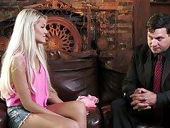Blondie sure loves the taste of her stepdad's big cock choking her