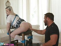 Schoolgirl leaves stepdaddy fulfill his kink roughly a series of hot maledom scenes