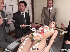 Sushi time with naked Ramu Nagatsuki includes some pussy masturbation