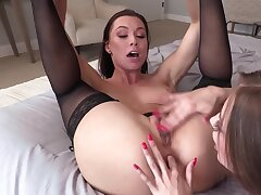 Two alluring lesbians twit always other's holes till they are wet