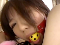 Submissive Japanese teen brunette tied up and mouth fucked