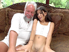Teen brunette Anya Krey fucked and swallows cum of an older man
