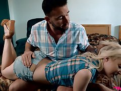 Blondie Chloe Cherry is fucking the brush resolution daddy in front be required of sleeping stepsister