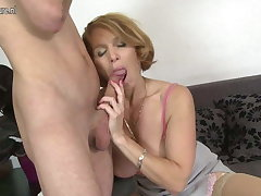 Sexy mom fucks pule her son