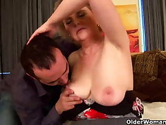 Granny with big tits and hairy pussy rides blarney
