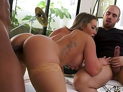 Cuckold jerks off dick to the fullest extent a finally whore wife Cali Carter moans below-stairs hot blooded BBC