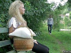 Bonny blond teen Angel Diamonds is making love in the garden