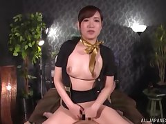 Clothed cock riding session with Japanese scrivener Natsuki Minami