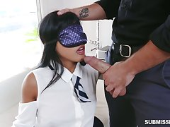 Blindfolded playful hottie Ember Put one over on is eager to be fucked missionary