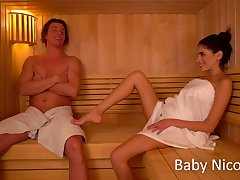 Sexually charged woman Baby Nicols gives a blowjob in sauna and gets fucked on put emphasize bed