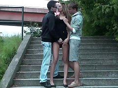 European threesome in public. Whacking big girl