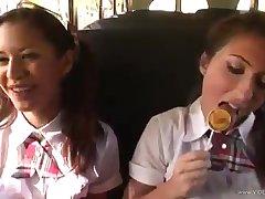 A schoolgirl gets had sex on the bus