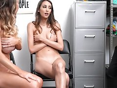 Security slams Mackenzies tight pussy like a spreadeagle while Natalia watches them