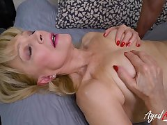 Shaved grandma pussy takes a young dick balls bottomless gulf