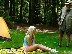 Blondie Lovita Fate is fucked firm by kinky geezer in the forest
