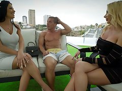 Rich boy enjoys shafting killing hot curvaceous sluts apart from dramatize expunge poolside