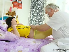 Young Russian chick Alena is fucked anally by one kinky old dude