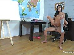Fantastic Lexi Dona sucks her teacher then rides his dong