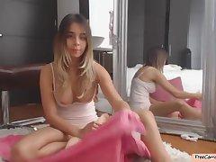 Horny Teen Slut Riding Male Doll On Webcam