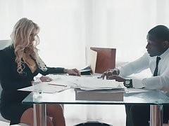 Domineer sexy business woman Katie Morgan seduces black mate
