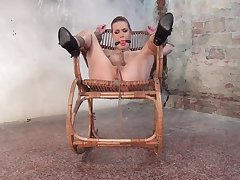 Erotic BDSM solo fantasy with a gagged blonde