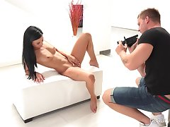 Brunette carve Albina with close-fisted pussy fucked on the stool
