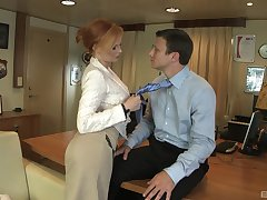 Redhead professional escort Tarra White fucked on the office take meals
